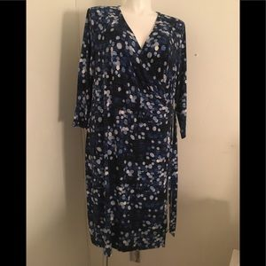 The Limited Faux Wrap Blue Dot V Neck Dress 2X
